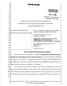supreme court Final Approval Order and Judgment cathe caraway howard